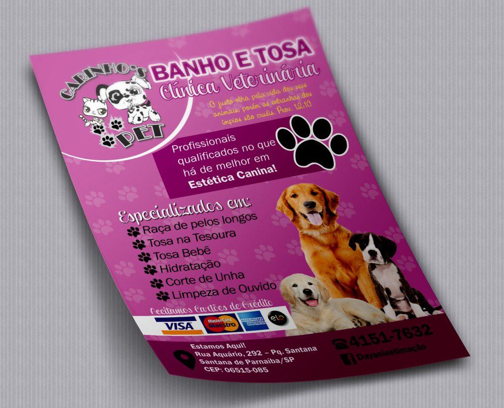 Panfletos desenvolvidos para a Carinhos Pet de Santana de Parnaíba