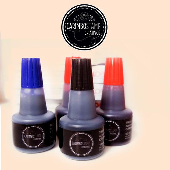 Tintas para Carimbos nas cores preta, vermelha e azul