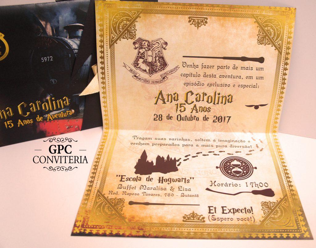Convite de Aniversário Tema Harry Potter