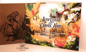 Convite de Aniversário Tema Alice no País das Maravilhas - Parte Interna