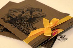 Convite de Aniversário Tema Alice no País das Maravilhas com Envelope Rústico